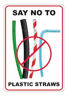 Карикатура иллюстрации различных видов соломинок, скажите «нет» одноразовой пластиковой соломке