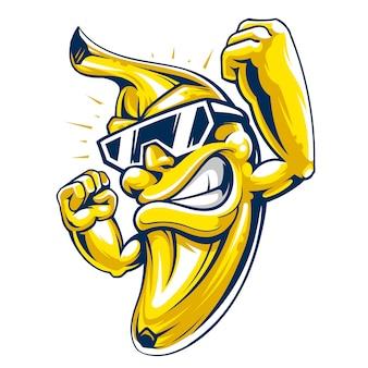 サングラスでクールな筋肉バナナ文字。白い背景の上の強力で幸せなバナナの果実。漫画スタイルのベクトルマスコット。