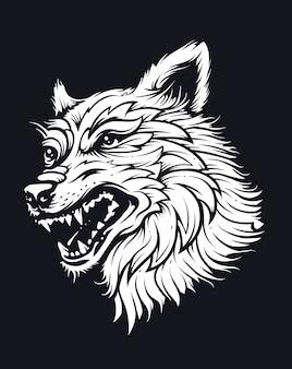 帽子のオオカミの頭。古い学校の入れ墨のスタイルの図。ベクターアート。