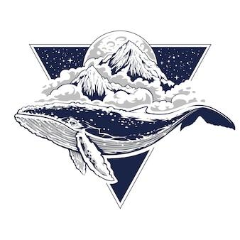 空を飛ぶクジラの神秘的な自由奔放な芸術。雲、山、月を背景に。三角形の形をした星空。神聖な幾何学の動機を持つ抽象的なシュールなイラスト。ベクターアート。