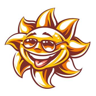 白で隔離されるサングラスで幸せそうな顔を持つ太陽キャラクターの漫画アート。ベクターアート。