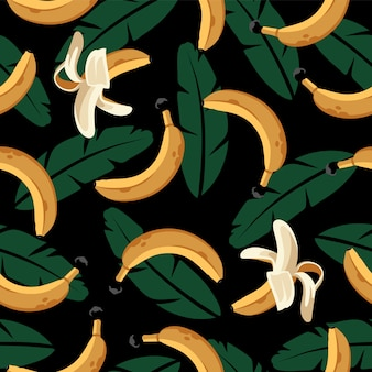 バナナと黒の葉のシームレスなパターン。