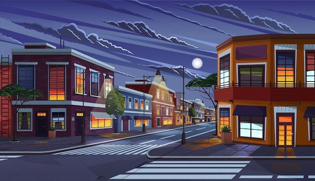 夜の町の通り