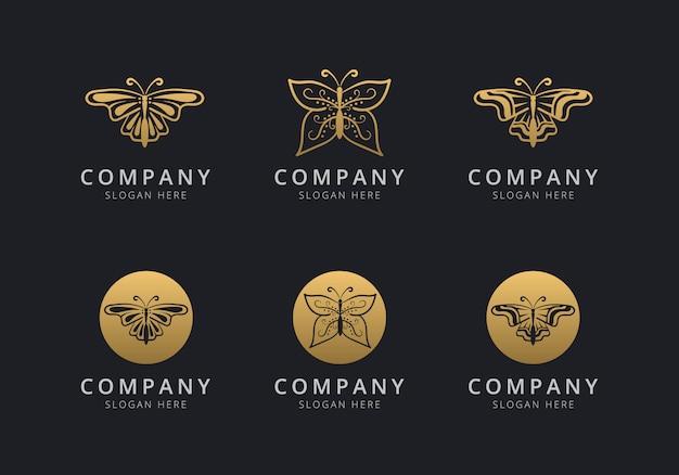 会社のゴールデンスタイルの色の蝶のロゴのテンプレート