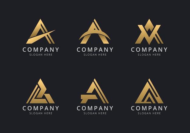 Инициалы шаблон логотипа с золотистым стилем для компании