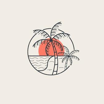 スタイルラインと夏の雰囲気のロゴのテンプレート