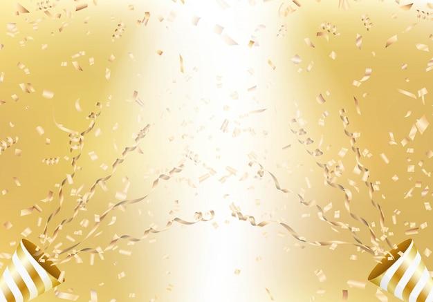Взрывающаяся золотая вечеринка поппер на фоне летающих конфетти.