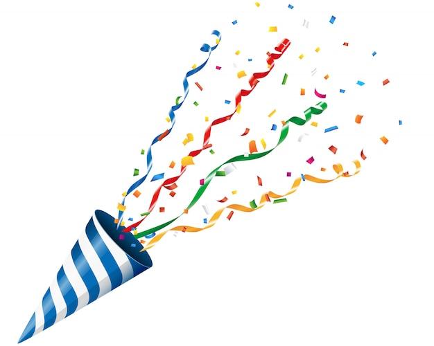 Взрывающаяся вечеринка поппер с конфетти и серпантином на белом фоне