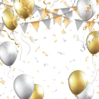 Золотые и серебряные шары, конфетти, растяжки и партийный флаг на белом фоне.