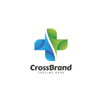 抽象的なモダンなクロスのロゴ