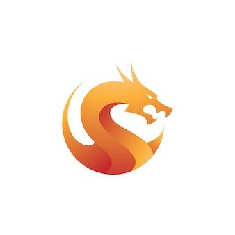 モダンなグラデーションドラゴンのロゴのアイコン