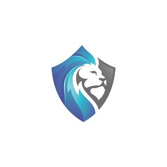 Логотип голова льва льва и щит