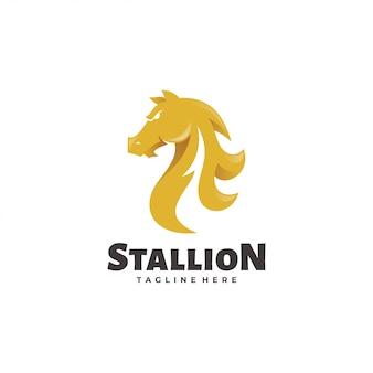 馬の種馬マスタングマスコットロゴ