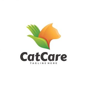 動物ペットの猫とケアの手のロゴ