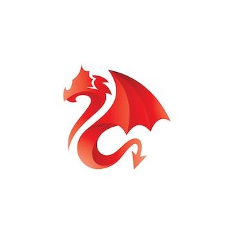 抽象的なドラゴン蛇翼イラストロゴ