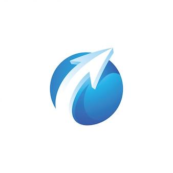 矢印と球体サークルのロゴ