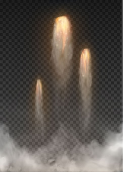 透明な背景に分離された宇宙ロケットの煙