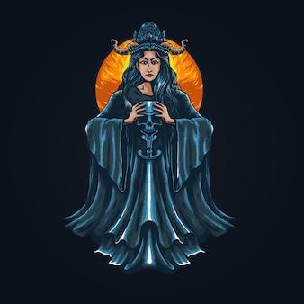 Иллюстрация женщина дьявол держит череп