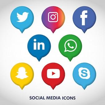 Значки социальных сетей установить фон сети. улыбающееся лицо. поделиться, как, комментарий