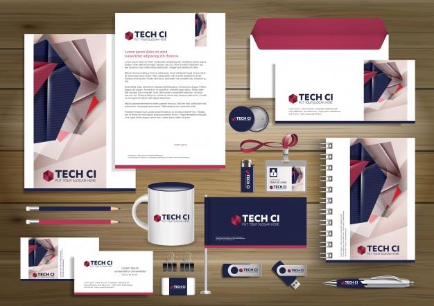 Цифровой технологический фирменный стиль, дизайн шаблонов подарков. канцелярские товары