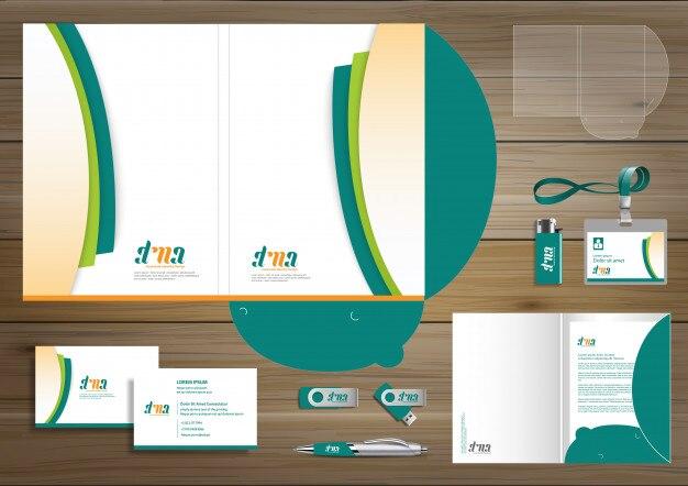 フォルダーコーポレートアイデンティティデザインデジタルビジネスステーショナリー