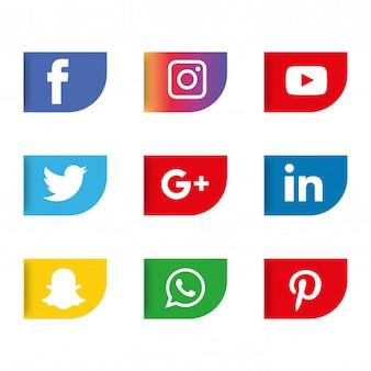 Набор значков в социальных сетях. логотип