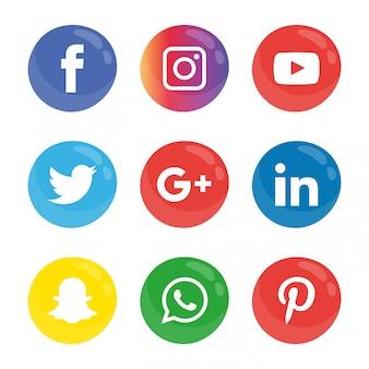 Набор значков в социальных сетях.