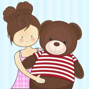 女の子は抱擁テディベア愛