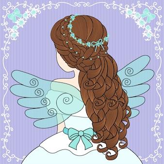 女性は天使の羽を着る