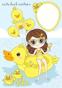 夏の少女と黄色いアヒル