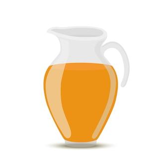 透明なガラス瓶、瓶のオレンジジュース