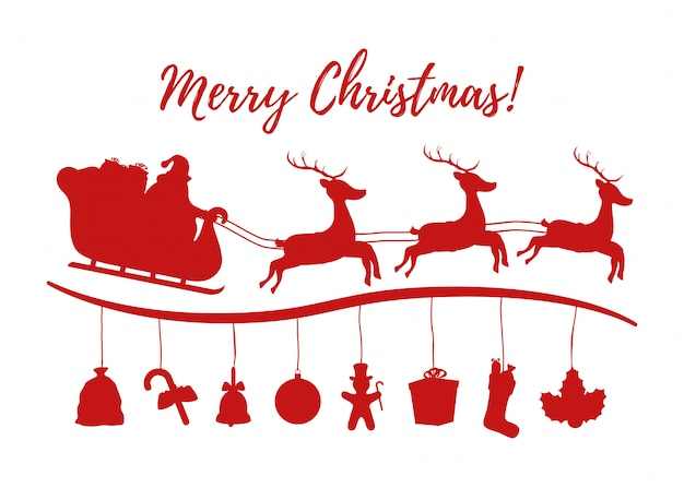 Санта-клаус санях силуэт для рождественского рекламного плаката.