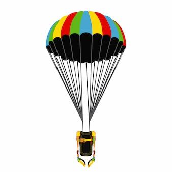 Парашютный пакет с открытым парашютом.