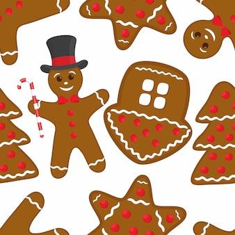 ジンジャーブレッドシームレスパターン - 茶色のクッキー