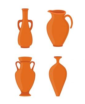 陶器 - 古代ギリシャの花瓶、アンフォラ、アンティーク投手。セラミックス