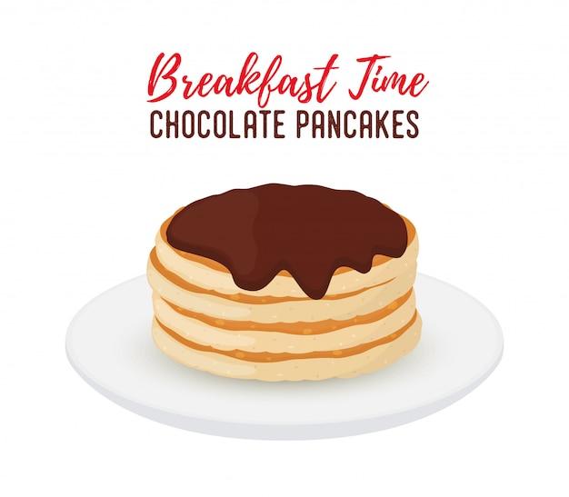 白いプレートにチョコレートのおいしいパンケーキ