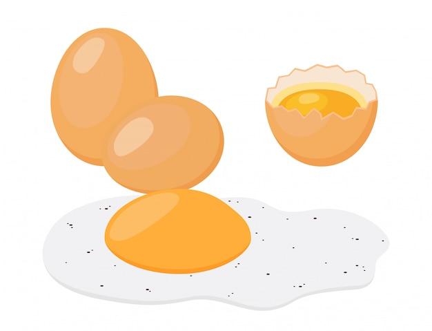 Жареное яйцо, завтрак. мультяшный плоский стиль