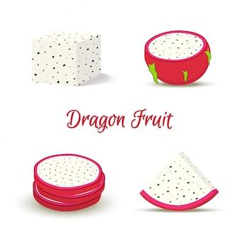 Тропический плод дракона, питайя ломтиками.