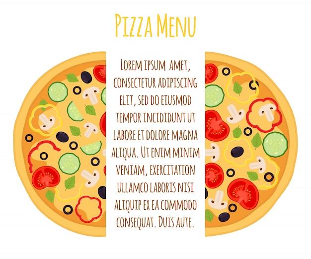 ベジタリアンピザメニューテンプレート、トマト、コショウ、その他の野菜のマルゲリータ