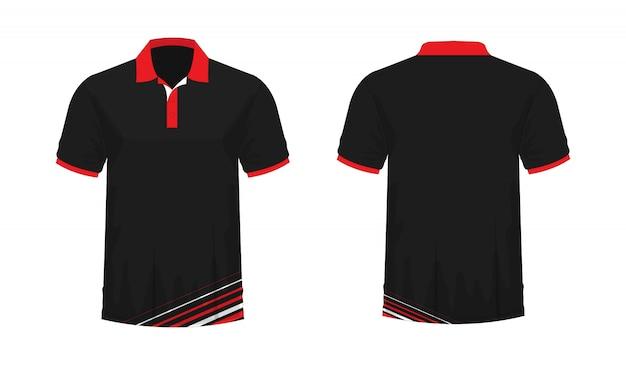 Футболка поло красный и черный шаблон для дизайна на белом фоне.