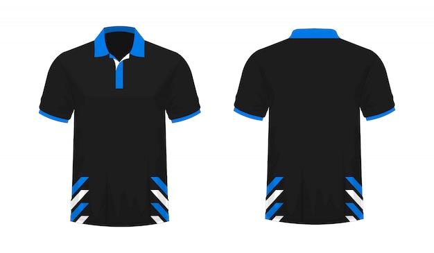 Футболка поло синий и черный шаблон для дизайна на белом фоне.