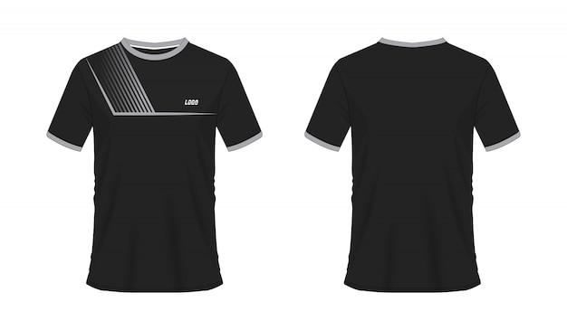 Футболка серая и черная футбол или футбол джерси спорт, иллюстрация