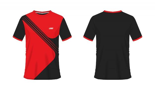 Футболка красный и черный футбол или футбол шаблон для команды клуба на белом фоне. джерси спорт,