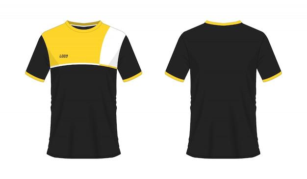 Футболка желтый и черный футбол или футбол шаблон для команды клуба на белом фоне.
