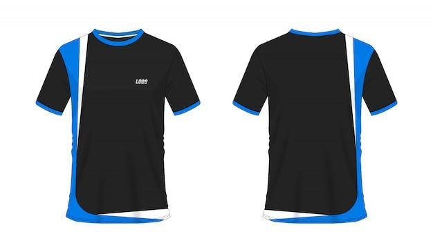 Футболка синий и черный футбол или футбол шаблон для команды клуба на белом фоне. джерси спорт,