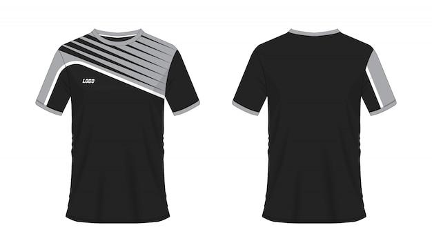 Футболка серый и черный футбол или футбол шаблон для команды клуба на белом фоне. джерси спорт,