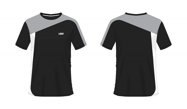 Футболка серый и черный футбол или футбол шаблон для команды клуба на белом фоне. джерси спорт