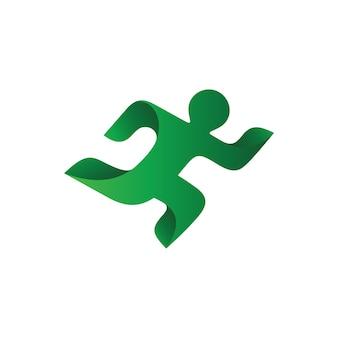 ヒューマンランニング健康ロゴベクトル