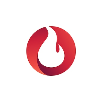 円のロゴベクトルの火