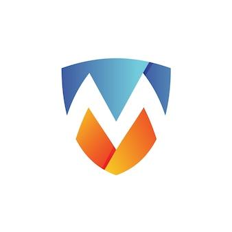 Буква м щит логотип вектор